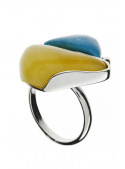 Home Turquoise ring with amber - 1