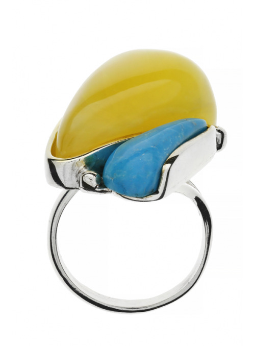 Home Turquoise ring with amber - 2