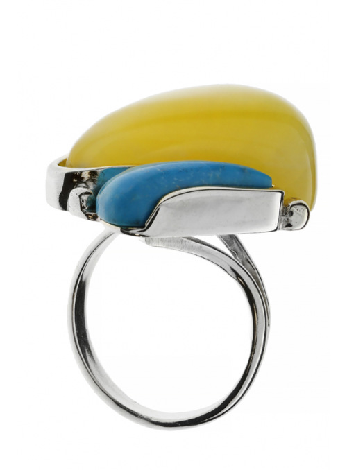 Home Turquoise ring with amber - 3