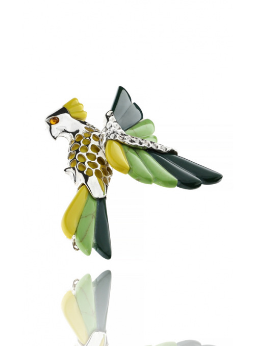 Brooches Parrot brooch with coral - 2