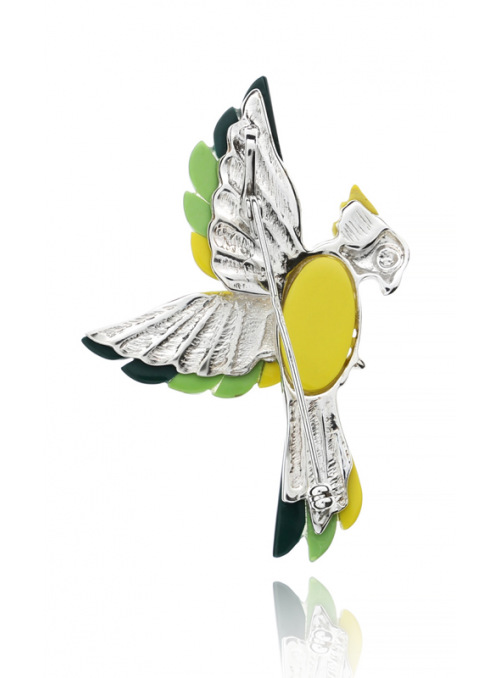 Brooches Parrot brooch with coral - 3
