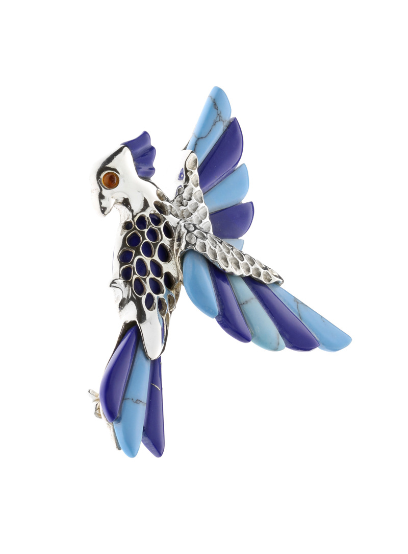 Brooches Parrot brooch with turquoise - 1