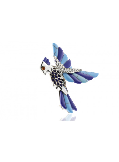 Brooches Parrot brooch with turquoise - 3