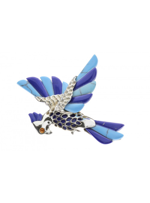 Brooches Parrot brooch with turquoise - 4