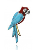 Brooches Parrot brooch with turquoise and coral - 1