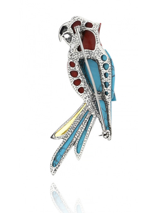 Brooches Parrot brooch with turquoise and coral - 4