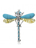 Brooches Dragonfly brooch with turquoise and amber - 1