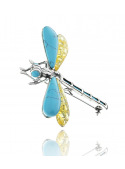 Brooches Dragonfly brooch with turquoise and amber - 2