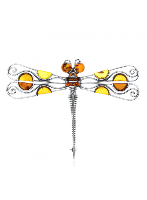 Brooches Dragonfly brooch with amber - 1