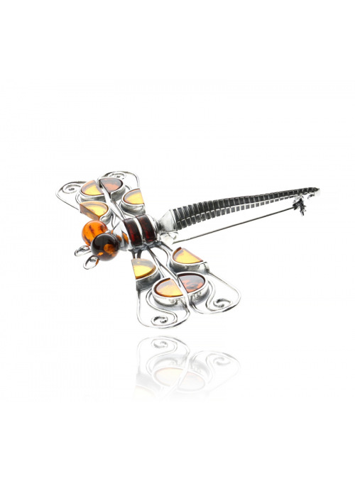 Brooches Dragonfly brooch with amber - 2