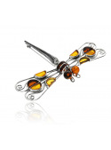 Brooches Dragonfly brooch with amber - 3