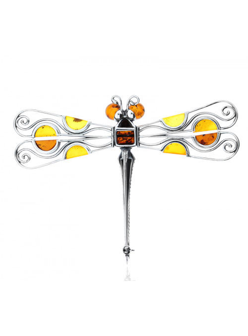 Brooches Dragonfly brooch with amber - 4