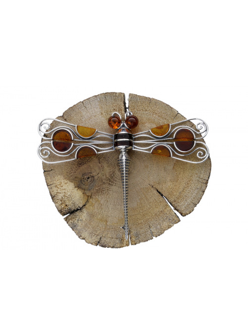 Brooches Dragonfly brooch with amber - 5