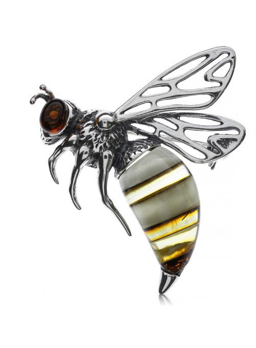 Brooches Bee brooch with amber - 1