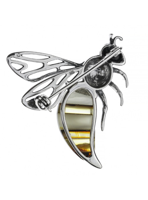 Brooches Bee brooch with amber - 2