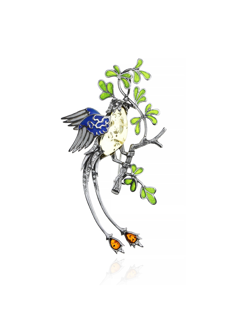 Brooches Bird brooch with amber - 1