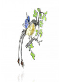 Brooches Bird brooch with amber - 2