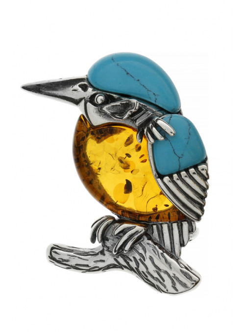 Brooches Kingfisher brooch with amber and turquoise - 1