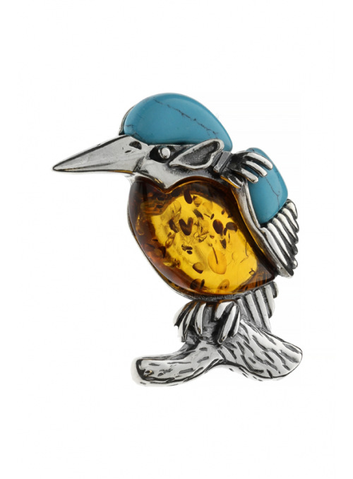 Brooches Kingfisher brooch with amber and turquoise - 2