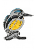 Brooches Kingfisher brooch with amber and turquoise - 3