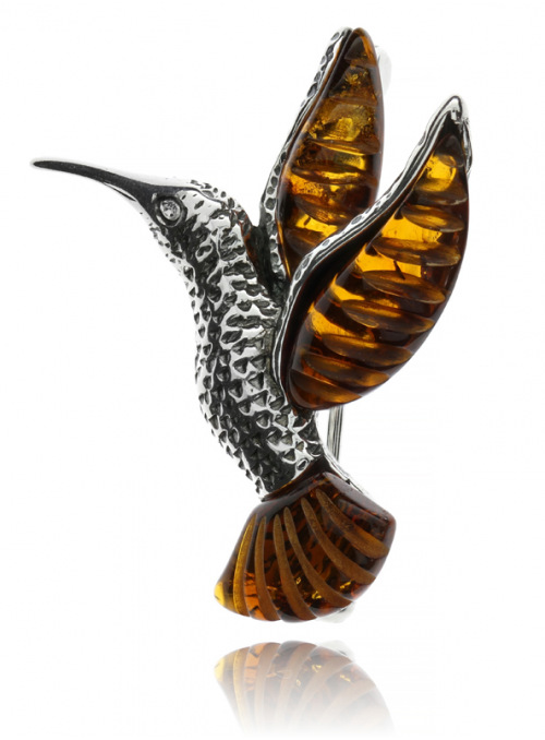 Brooches Hummingbird brooch with amber - 1