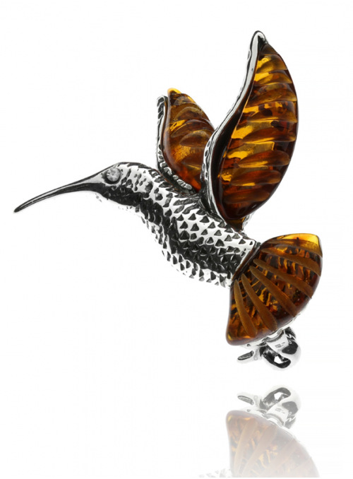 Brooches Hummingbird brooch with amber - 2