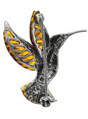 Brooches Hummingbird brooch with amber - 3