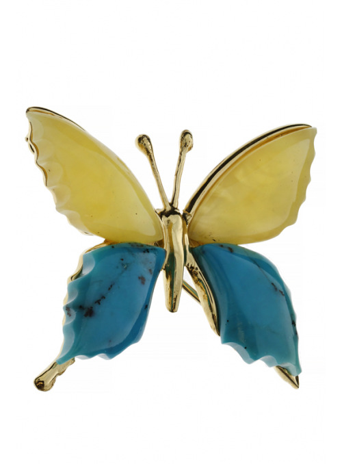 Brooches Butterfly brooch with amber and turquoise - 1