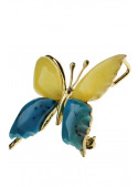 Brooches Butterfly brooch with amber and turquoise - 2
