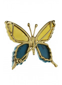 Brooches Butterfly brooch with amber and turquoise - 3