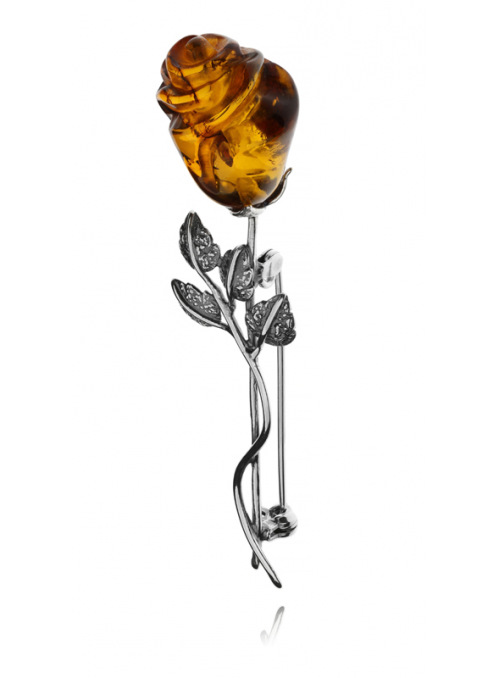 Home Rose brooch with amber - 1