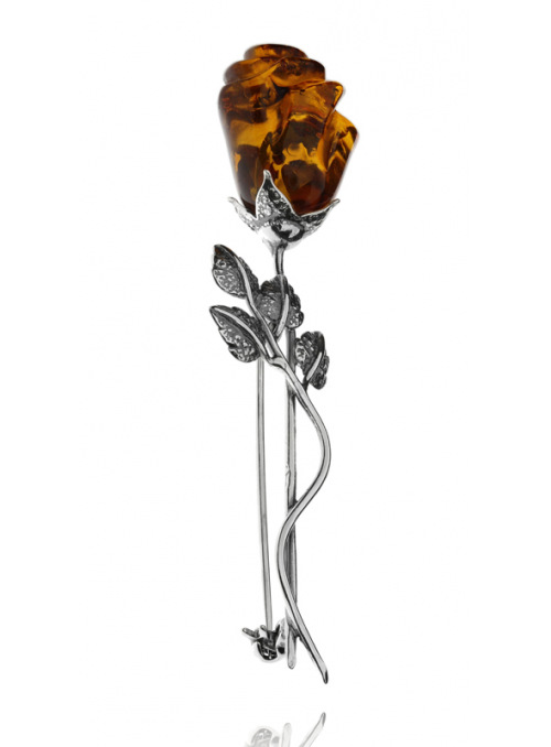Home Rose brooch with amber - 2