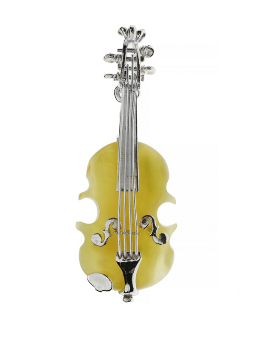 Brooches Violin brooch with amber - 1
