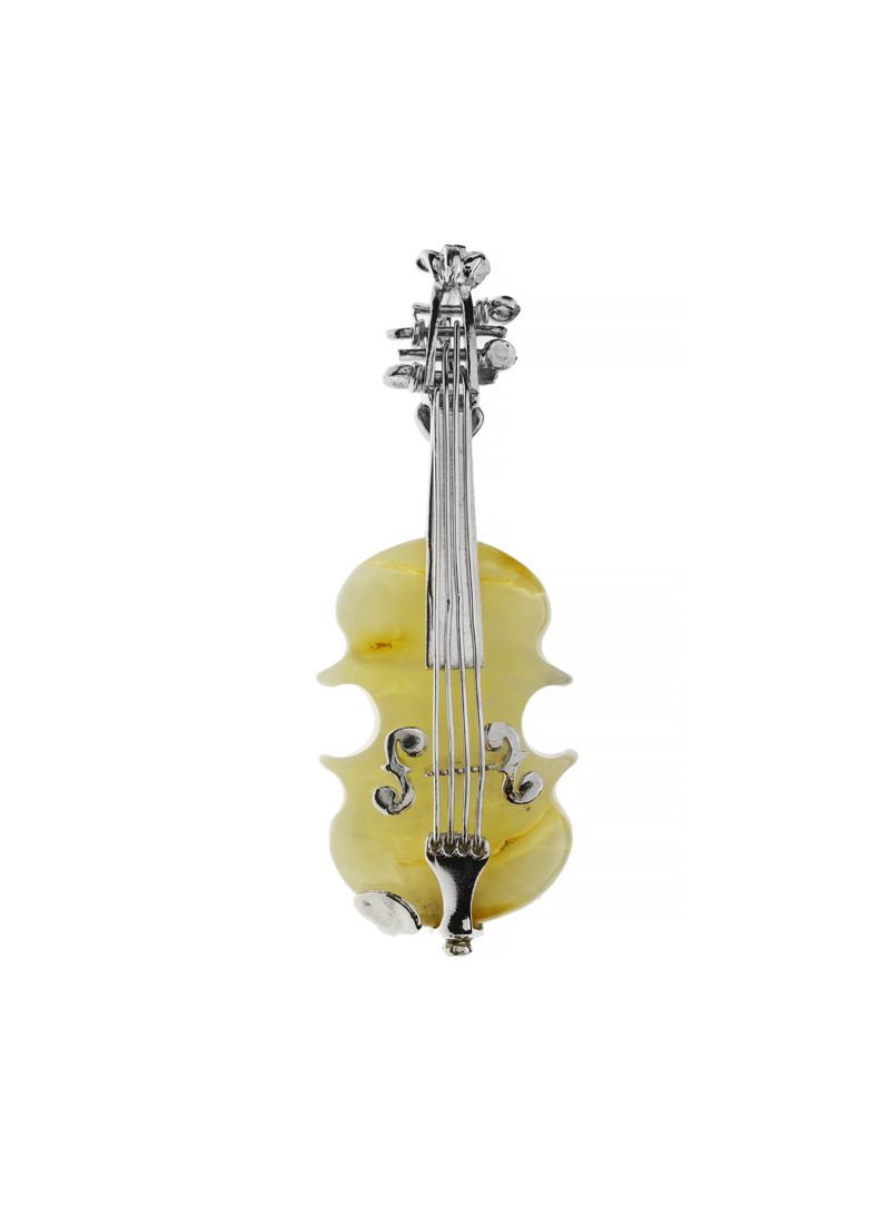 Brooches Silver violin brooch with amber - 1