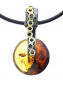 Home Amber necklace on a leather thong - 2