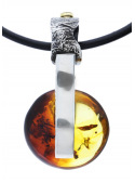 Home Amber necklace on a leather thong - 4